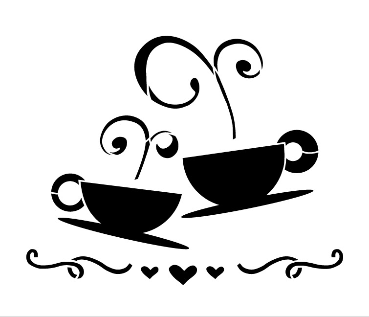"Tea Coffee Love Art Stencil-15"" X 18"""
