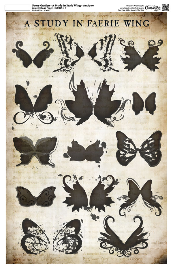"""Faery Garden Collage Paper - A Study In Faerie Wing - Antique - 11"""" x 17"""" (10.5"""" x 16.25"""" artwork area)"""