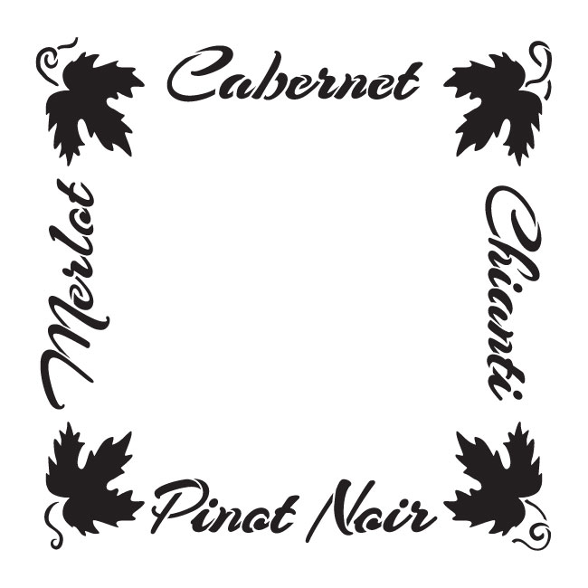 "French Wine Frame Word Art Stencil - 10"" x 10"" - STCL1035_1 - by StudioR12"