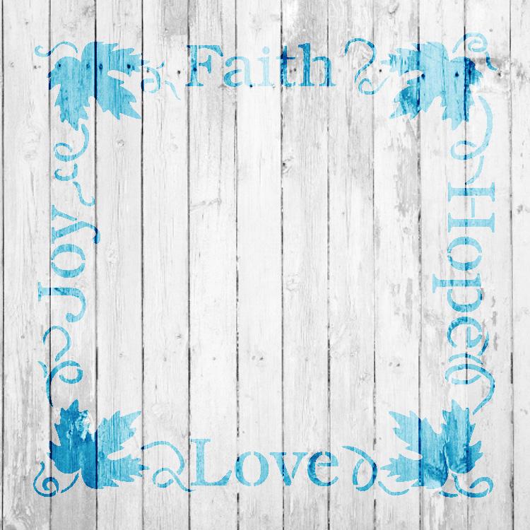 "Faith Hope Love Joy Grapevine Frame Word Art Stencil - 10"" x 10"" - STCL1036_1 - by StudioR12"