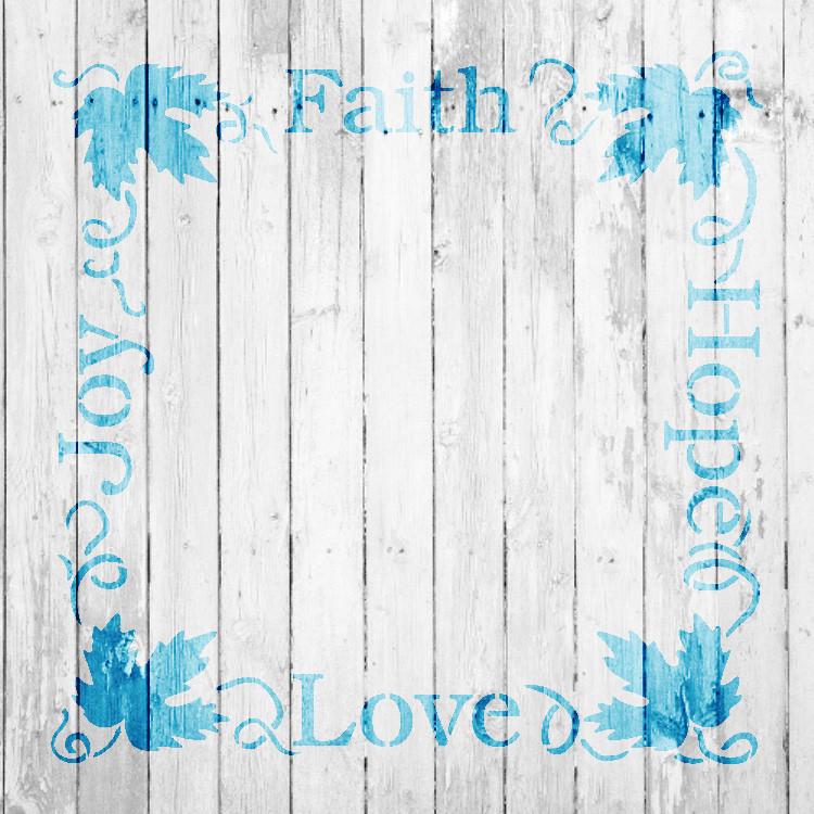 "Faith Hope Love Joy Grapevine Frame Word Art Stencil - 19"" x 19"" - 1036_4 - by StudioR12"
