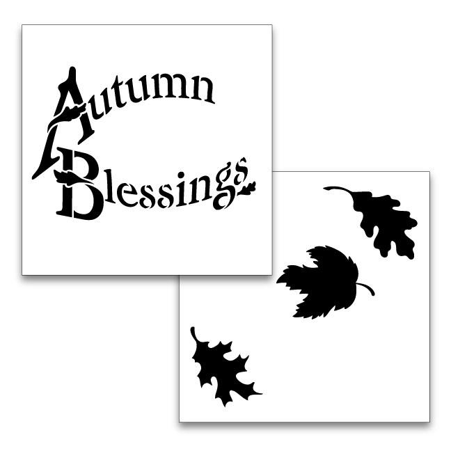 """Autumn Blessings Word Art Stencil - 2pc - 6"""" x 6"""""""