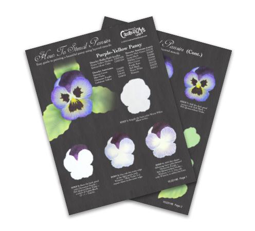How To Stencil Pansies Worksheet - Purple-Yellow