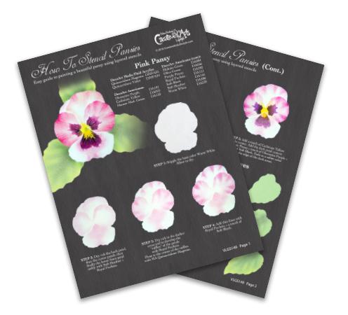 How To Stencil Pansies Worksheet - Pink