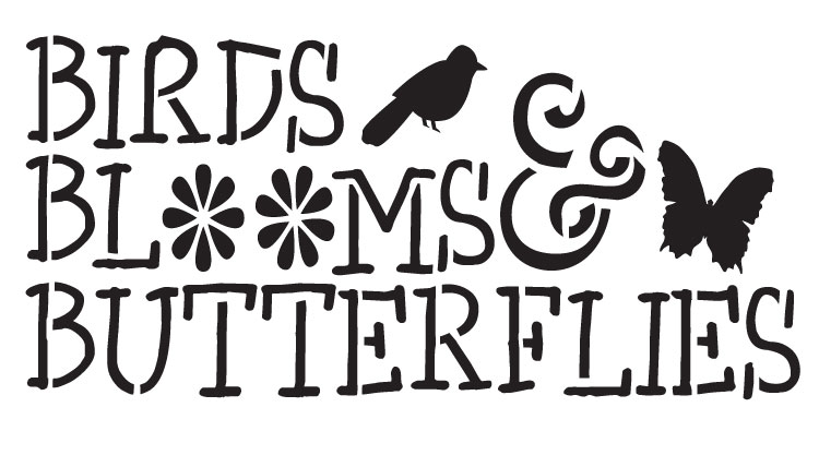 """Birds, Blooms and Butterflies - Word Stencil - Icons - 14"""" X 7.5"""""""