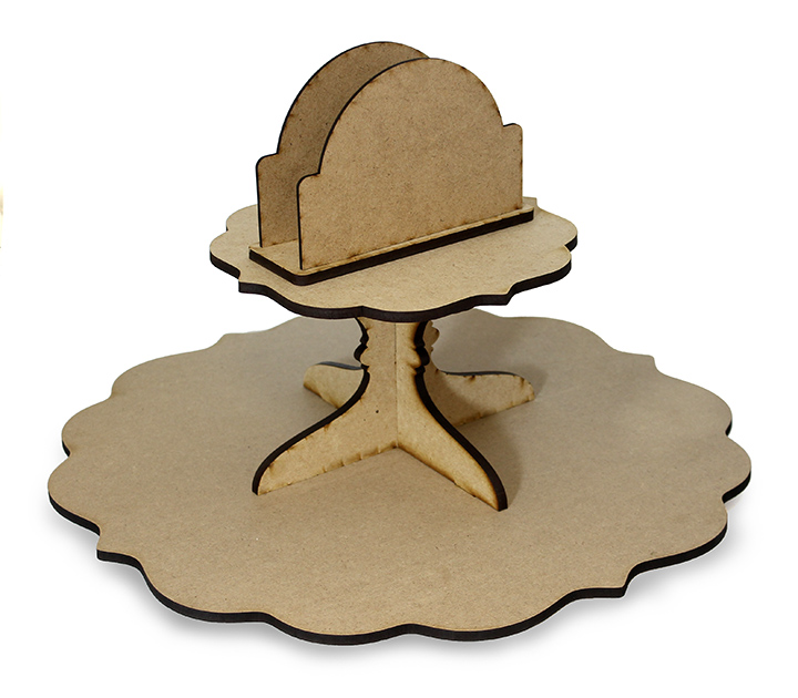 Fancy Scalloped Lazy Susan with Napkin Holder - Includes Base