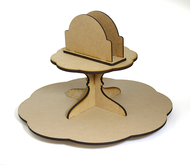 Scalloped Lazy Susan with Napkin Holder - Includes Base