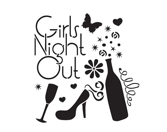"Girls Night Out - Art Stencil - 9"" x 9"" - by StudioR12"