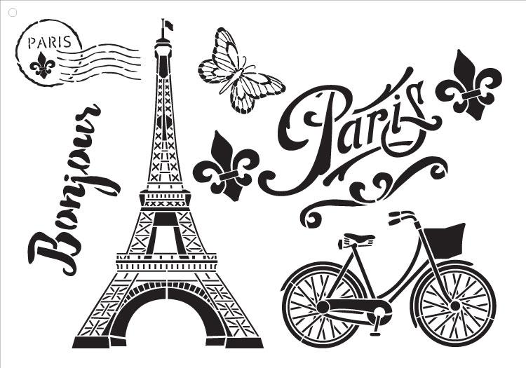 "Paris Bicycle Postcard - Art Stencil -  13"" X 9"""