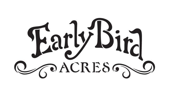 "Early Bird Acres Word Art Stencil - 7"" x 4"""
