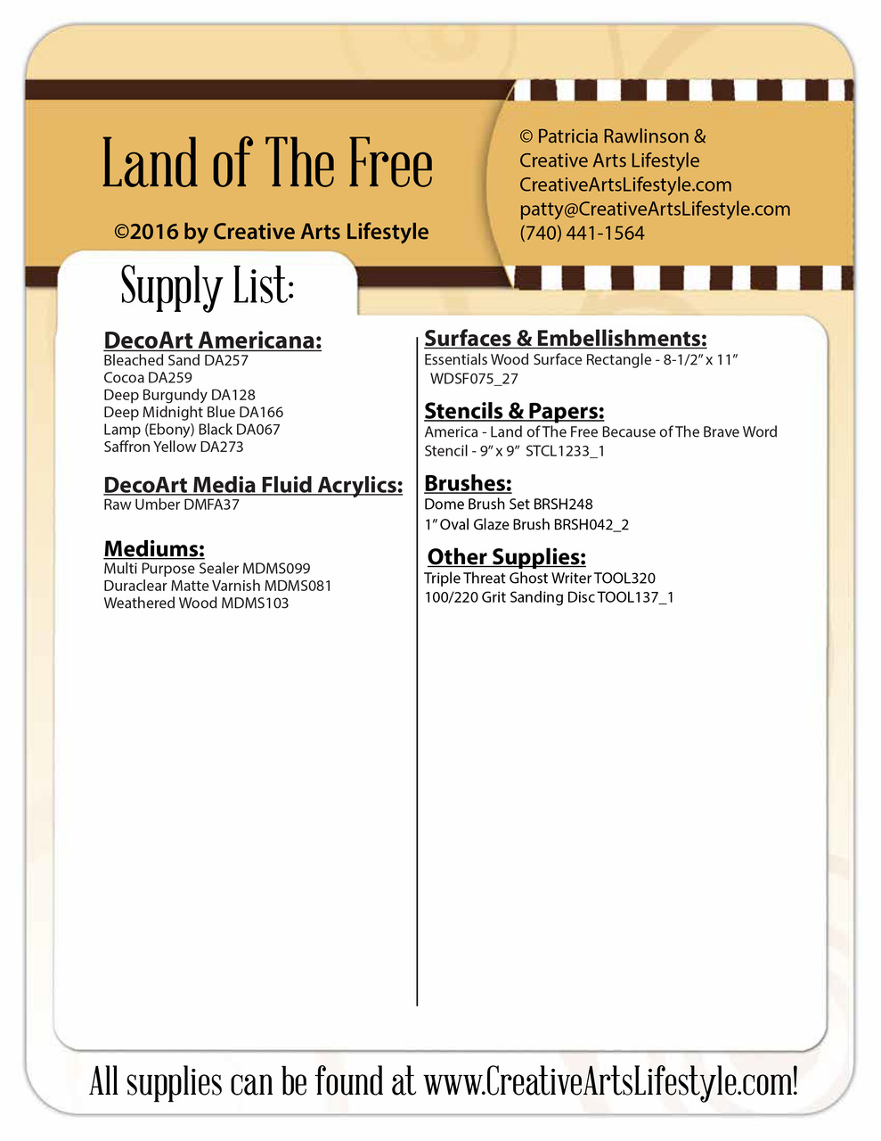 Land Of The Free Pattern Packet - Patricia Rawlinson