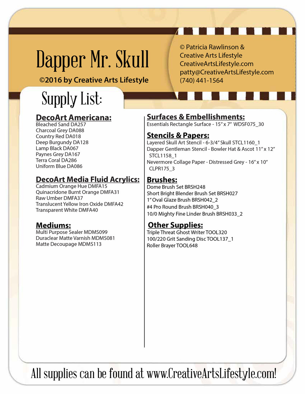 Dapper Skull - Pattern Packet by Patricia Rawlinson