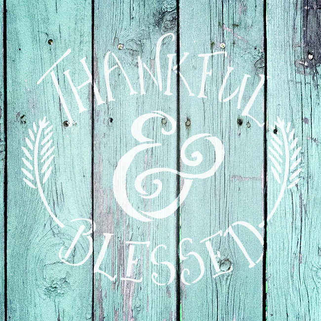 """Thankful & Blessed - Funky Fall Style - Word Art Stencil - 12"""" x 12"""" - STCL1452_2 by StudioR12"""