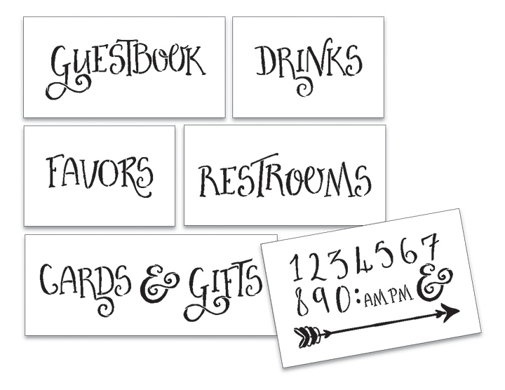 Wedding Stencil Words - For Guests - Fancy Funky 6pc Large Set - STCL1595_3 by StudioR12