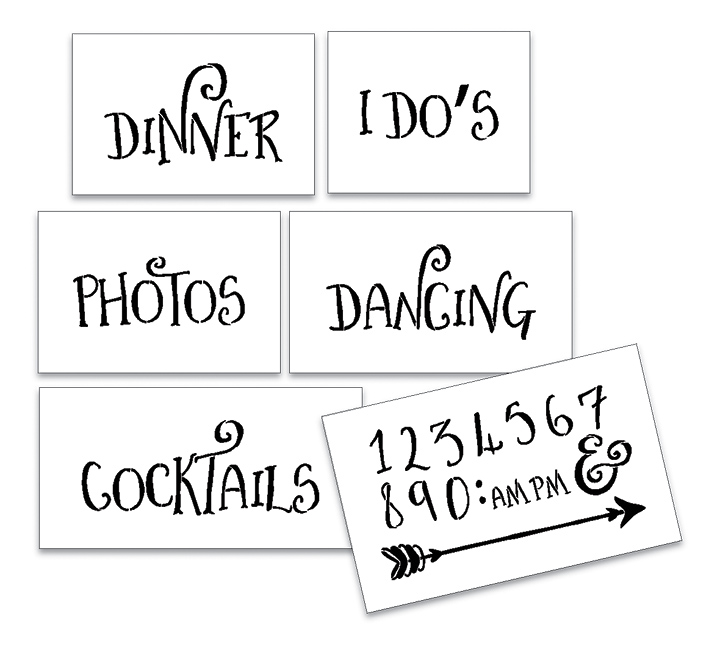 Wedding Stencil Words - Fun Stuff - Fancy Funky 6pc Large Set - STCL1596_3 by StudioR12