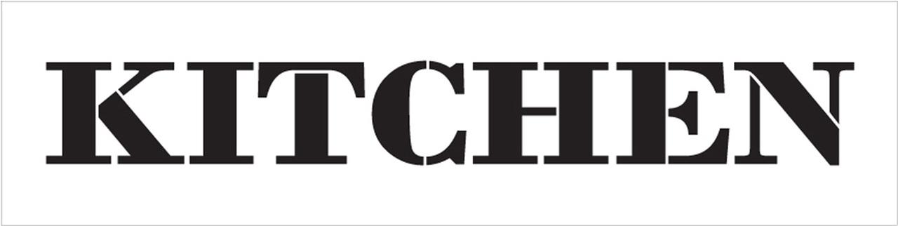 "Kitchen - Farmhouse Serif - Word Stencil - 24"" x 6"" - STCL1951_4 - by StudioR12"