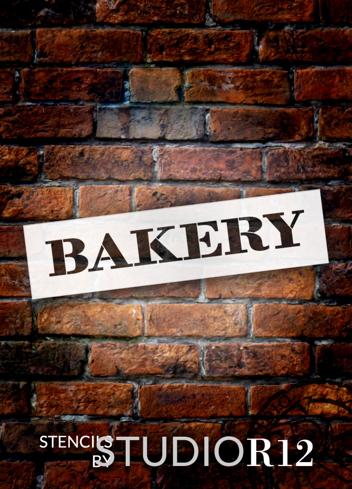 "Bakery - Farmhouse Serif - Word Stencil - 12"" x 3"" - STCL1953_1 - by StudioR12"