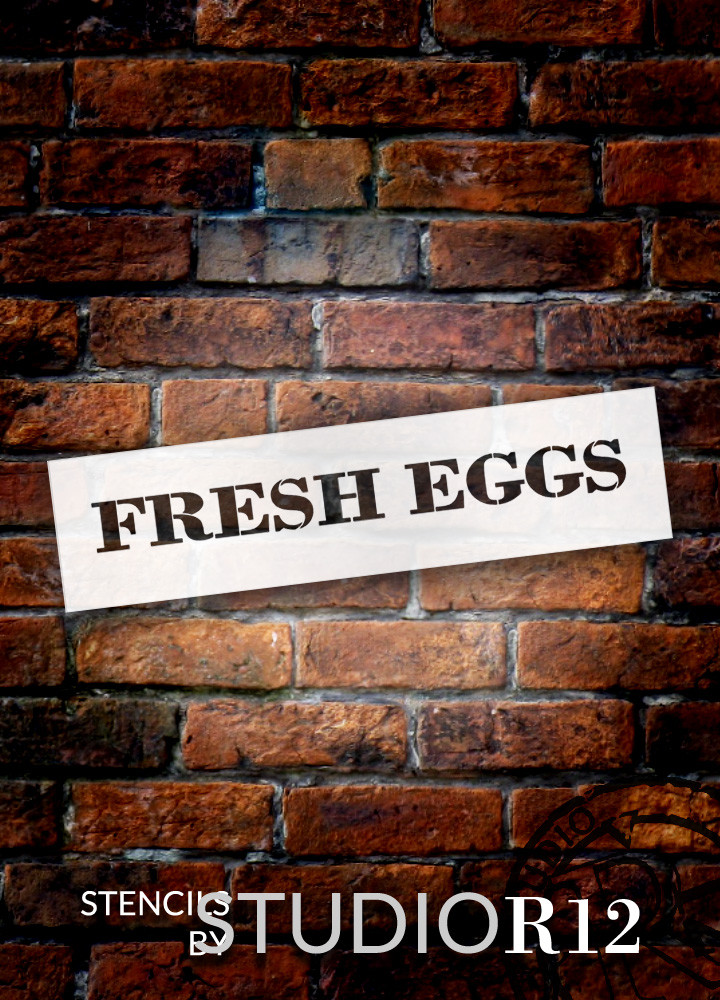 "Fresh Eggs - Farmhouse Serif - Word Stencil - 28"" x 5"" - STCL1957_3 - by StudioR12"