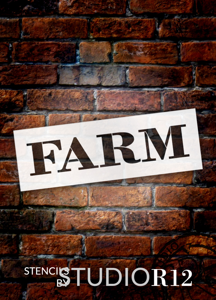 "Farm - Farmhouse Serif - Word Stencil - 20"" x 6"" - STCL1963_3 - by StudioR12"