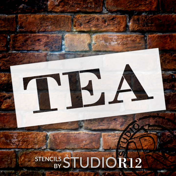 "Tea - Farmhouse Serif - Word Stencil - 20"" x 7"" - STCL1967_3 - by StudioR12"