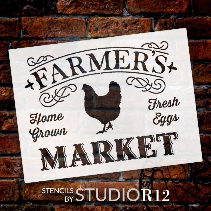 "Farmer's Market - Word Art Stencil - 20"" x 15"" - STCL1971_2 - by StudioR12"