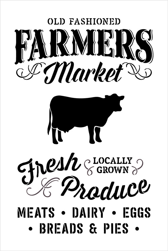 "Old Fashioned Farmer's Market - Word Art Stencil - 19"" x 27"" - STCL1972_3 - by StudioR12"