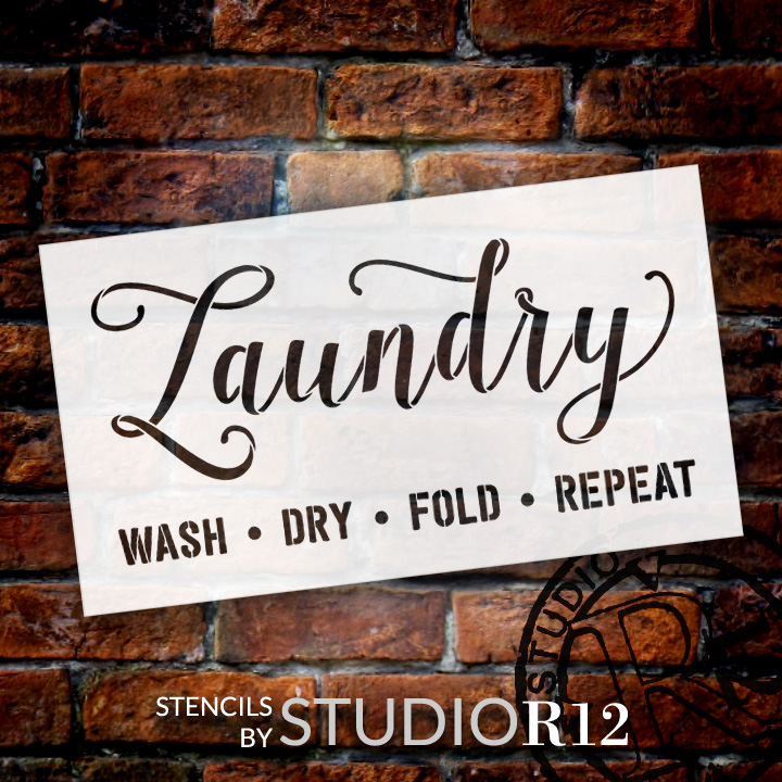 """Laundry - Wash Fold Dry Repeat - Word Stencil - 20"""" x 11"""" - STCL1980_2 - by StudioR12"""