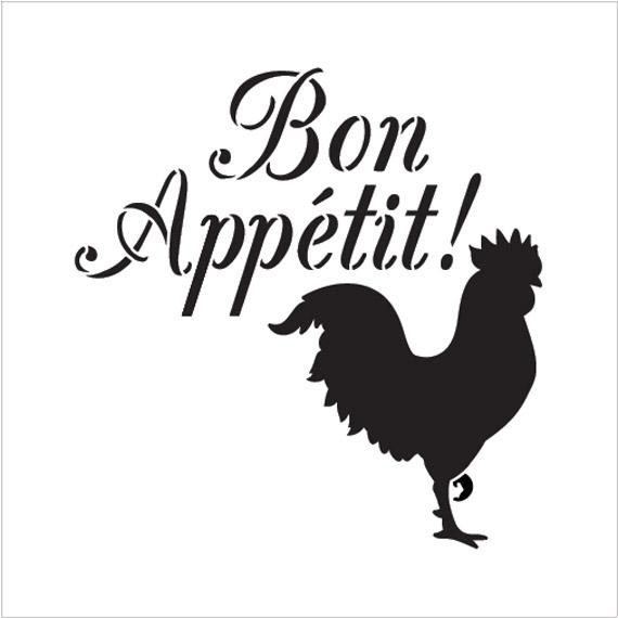 "Bon Appetit - Rooster - Word Art Stencil - 15"" x 15"" - STCL1990_3 - by StudioR12"