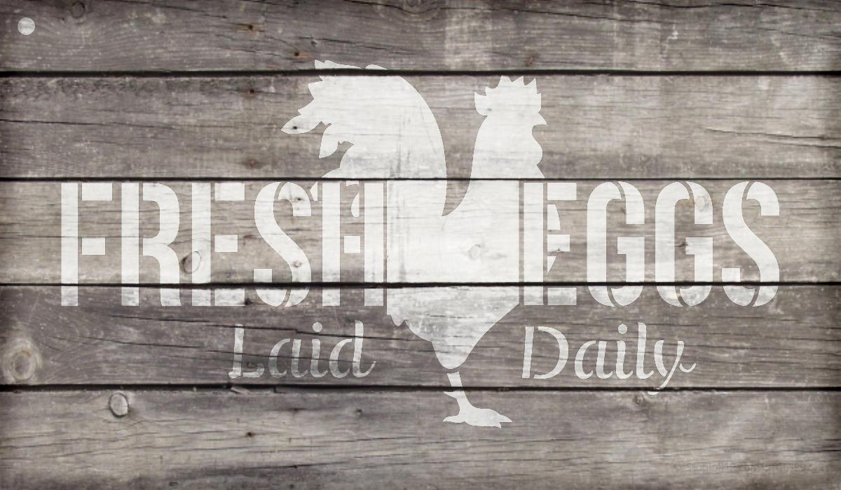"""Fresh Eggs - Chicken - Word Art Stencil - 24"""" x 14"""" - STCL1997_5 - by StudioR12"""