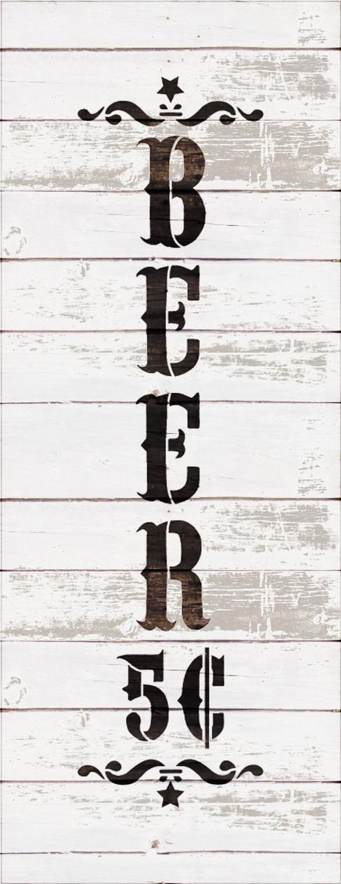 "Beer - Decorative Vertical - Word Art Stencil - 6"" x 16"" - STCL1887_2 - by StudioR12"