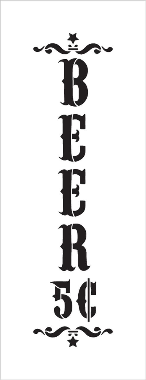 "Beer - Decorative Vertical - Word Art Stencil - 7"" x 19"" - STCL1887_3 - by StudioR12"
