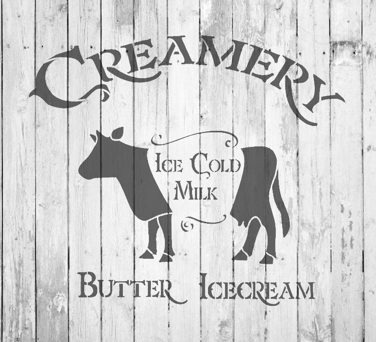 "Creamery - Cow - Word Art Stencil - 11"" x 10"" - STCL2065_1 - by StudioR12"