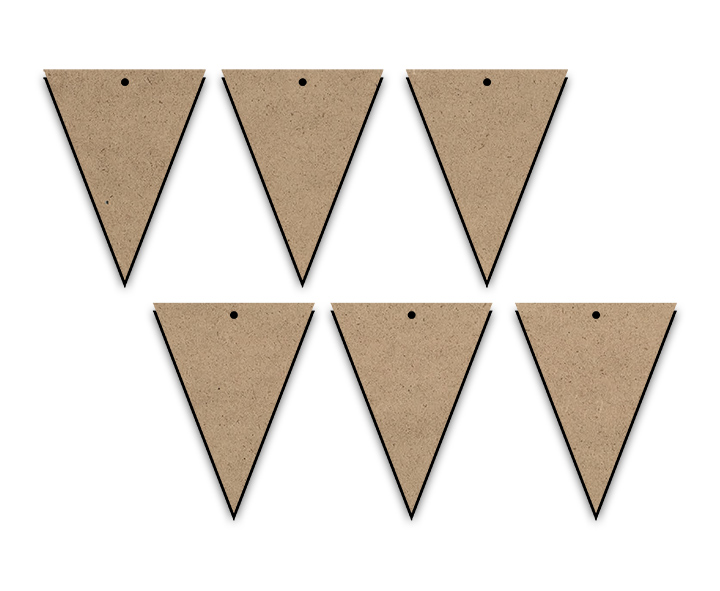 Triangle Banner Pendants - 6pc - 3-1/4""