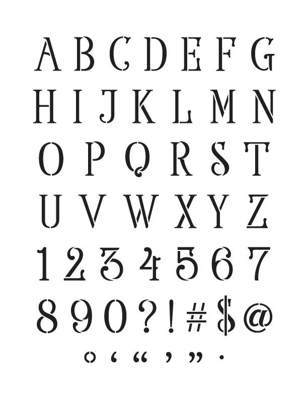 Elegant Serif Alphabet Numbers And Symbols Stencil 8 X 11