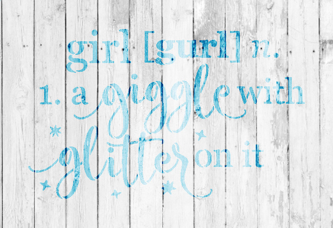 """Girl - Defined - Word Stencil - 10"""" x 7"""" - STCL1868_1 - by StudioR12"""
