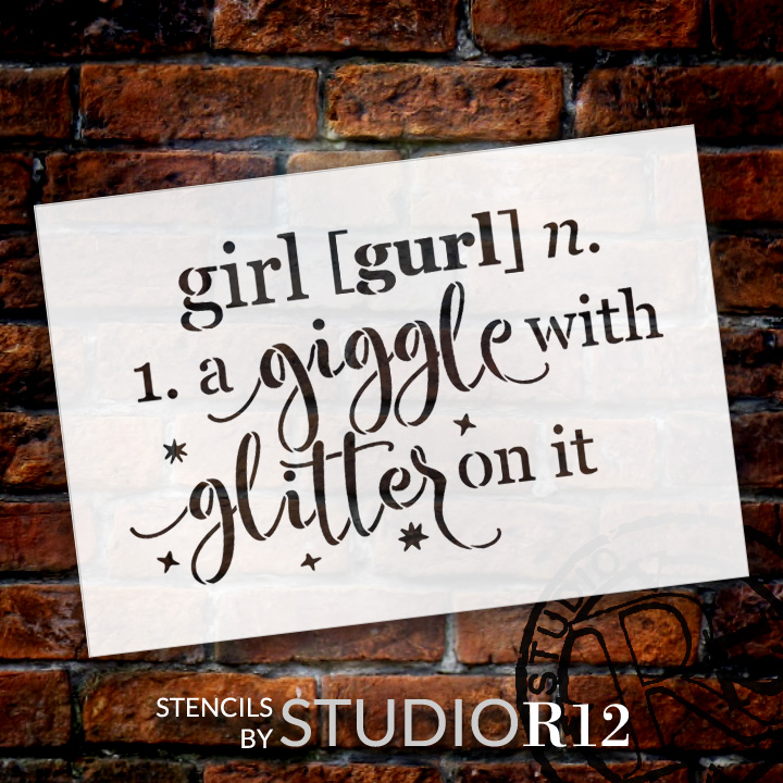 """Girl - Defined - Word Stencil - 13"""" x 9"""" - STCL1868_2 - by StudioR12"""