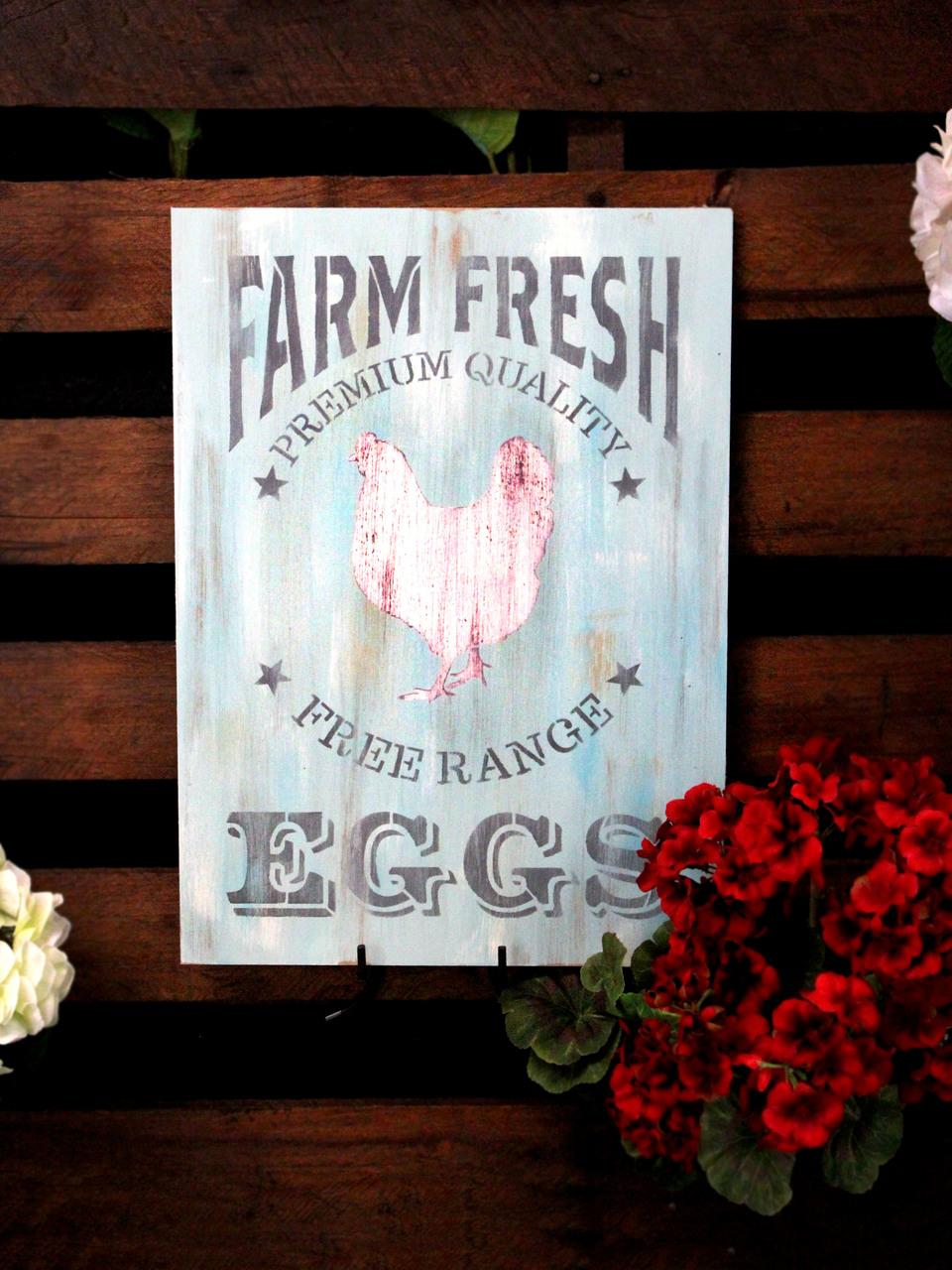 "Farm Fresh Eggs, Chicken Stencil by StudioR12 | Reusable Mylar Template - 11"" x 15.25"""