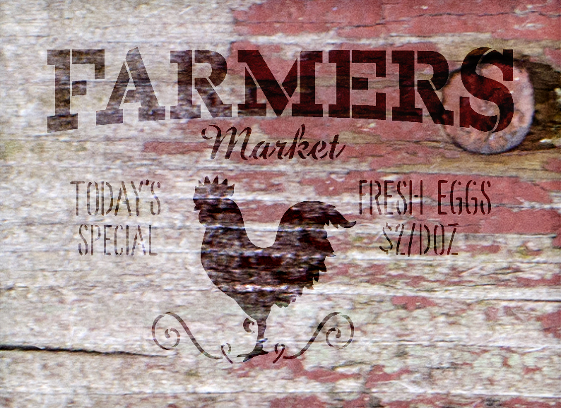 """Farmers Market - Today's Special - Fresh Eggs $2/Doz Word Stencil by StudioR12 - Rooster Word Art - 20"""" x 15"""" - STCL2186_4"""