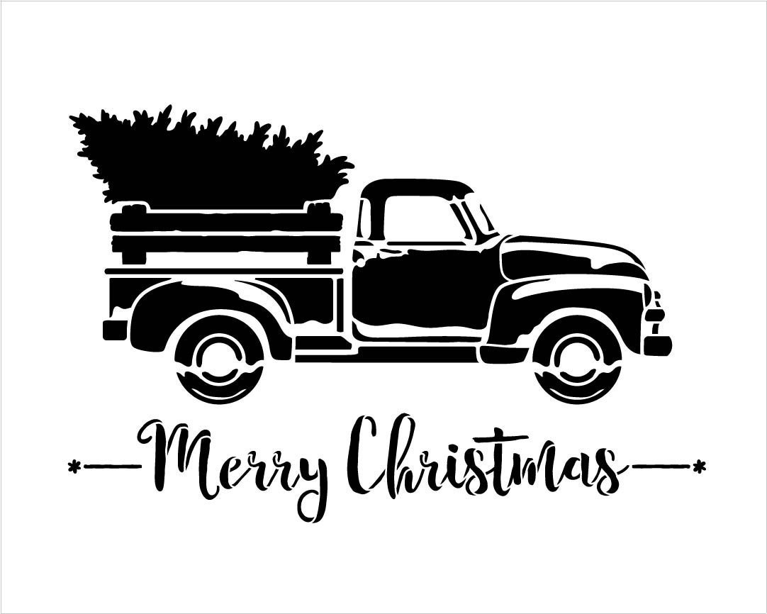 Little Red Truck With Merry Christmas Script Stencil