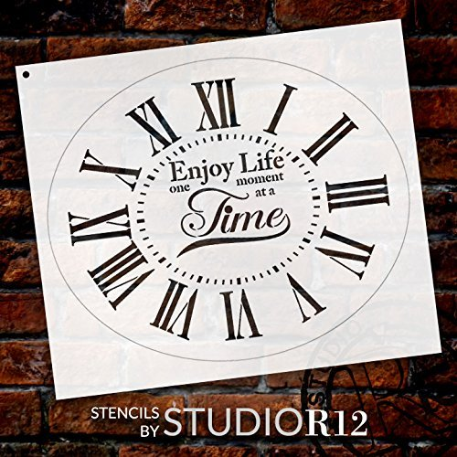 "Oval Clock Stencil w/Roman Numerals - Enjoy Life One Moment at a Time Letters - DIY Painting Farmhouse Country Home Decor Art - Select Size (14"")"