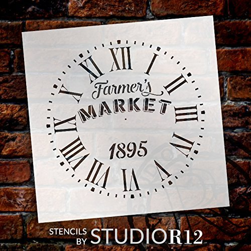 """Round Clock Stencil Roman Numerals - Farmers Market Letters - DIY Painting Vintage Rustic Farmhouse Country Home Decor Walls - Select Size (20"""")"""