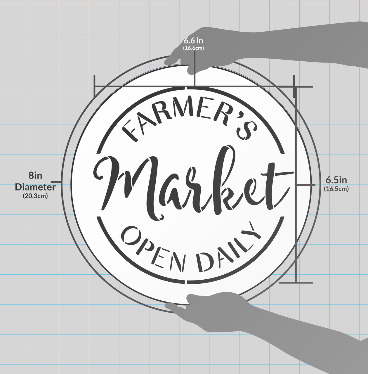 """Farmer's Market Open Daily Stencil by StudioR12 - Country Word Art - 18"""" Round - STCL2456_4"""