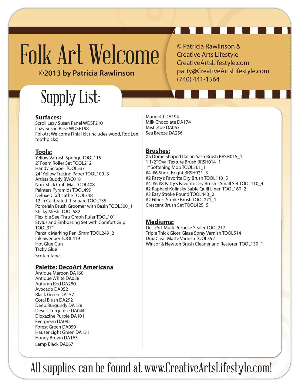 FolkArt Welcome - E-Packet - Patricia Rawlinson