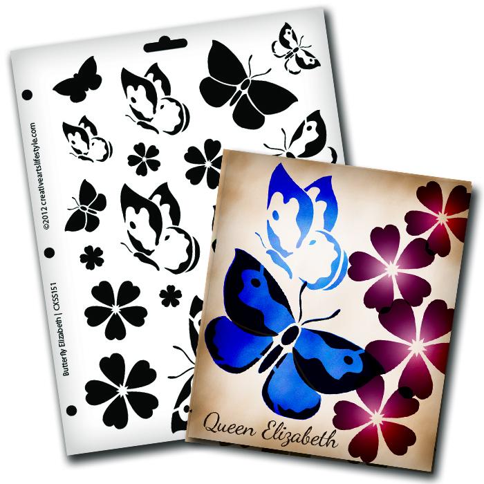 """Butterfly Magic Elizabeth Stencil - 8 1/2"""" x 11"""""""