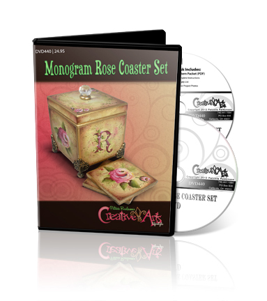 Monogrammed Rose Coaster Set  DVD & Pattern Packet - Patricia Rawlinson