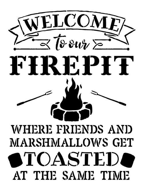 Welcome To Our Fire Pit Word Art Stencil 13 Quot X 18 Quot