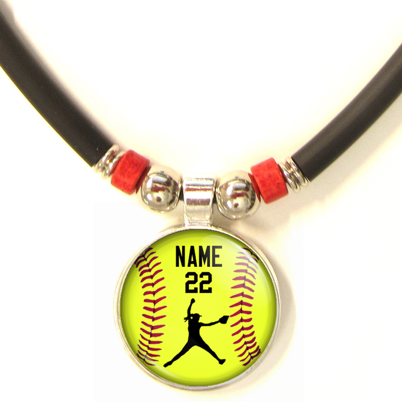 softball sterling pin necklace and silver