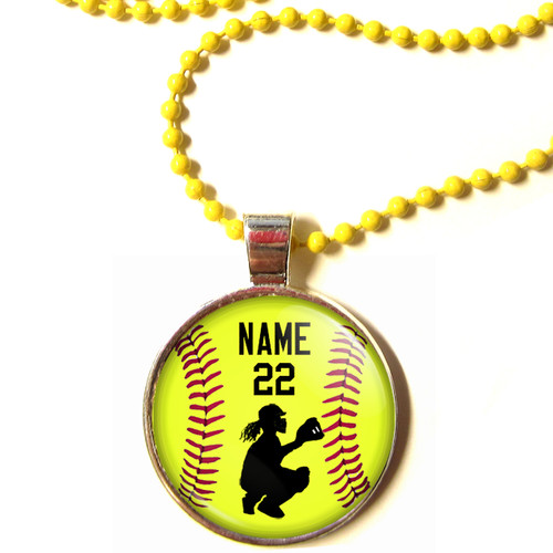 Moc personalized yellow chain 1 diameter 3d glass softball personalized yellow chain 1 diameter softball catcher pendant necklace with your name and number mozeypictures Choice Image