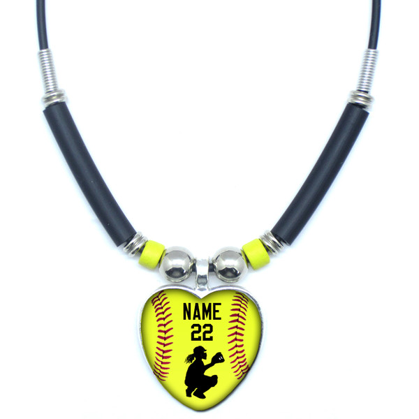 Moahgyb personalized yellow softball catcher heart 3d glass pendant personalized yellow softball catcher heart 3d glass pendant necklace with your name and number aloadofball Gallery