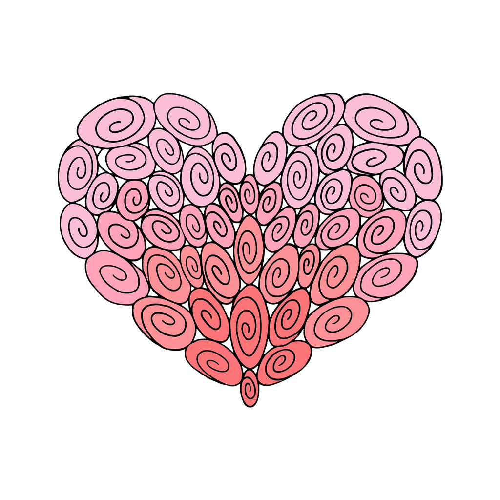 50 Swirl Heart : Love Collection : Fancy Print